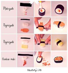 Tutos : Sushi et maki   Bijoux sucrés, Bijoux fantaisie, Bijoux gourmands, Pâte Fimo, Nail Art et Miniatures gourmandes