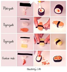 Tutos : Sushi et maki | Bijoux sucrés, Bijoux fantaisie, Bijoux gourmands, Pâte Fimo, Nail Art et Miniatures gourmandes