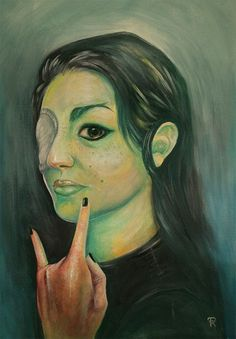 Self-portrait 2014 - By Francesca Radicetta - Acrylic on canvas-board, acid colors painting. Young woman with beauty spots and long black hair and wounded right eye. Dark green and tourquoise background. Long Black Hair, Canvas Board, My Works, My Drawings, Eyes, Woman, Portrait, Dark, Colors