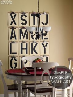 Simple typography wall art with clip boards - love!