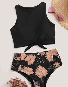 Shein Knot Hem Top With High Waist Bikini Set Cute Swimsuits bikini Hem High Kno. - Shein Knot Hem Top With High Waist Bikini Set Cute Swimsuits bikini Hem High Knot Set SheIn top Waist Source by - Bathing Suits For Teens, Summer Bathing Suits, Cute Bathing Suits, Cheap Swimsuits, Women's One Piece Swimsuits, Women Swimsuits, Cute Swimsuits High Waisted, Mode Du Bikini, Bikini Outfits