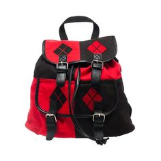 DC Comics Harley Quinn Knapsack Backpack ($35) ❤ liked on Polyvore featuring bags, backpacks, harley quinn, black backpack, knapsack bags, black rucksack, rucksack bag and black bag