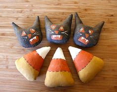 Bowl Filler Scaredy Cats and Candy Corn E Pattern Primitive Ornaments PDF Instant Download