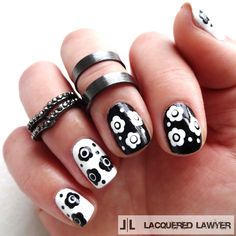 Lacquered Lawyer   Nail Art Blog: Black and White Botanicals