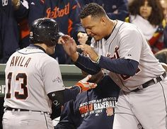 Detroit Tigers Alex Avilia celebrates his two run homerun with Miguel Cabera who also hit a homerun during sixth inning action.