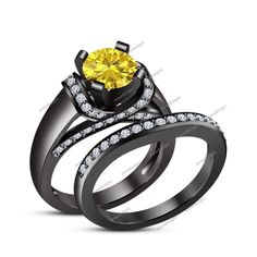 Round Cut 1.50CT.T.W Yellow Sapphire Prong Set 14K Black Gold FN Bridal Ring Set #aonedesigns