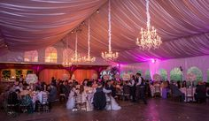 Our chandeliers at an event at the beautiful Grand Tradition Estate and Gardens