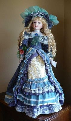 "26 in Porcelain Doll ""Chloe"" Blue Victoria Dress Blond with Stand Collector 