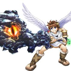These are images from the 2012 Nintendo game Kid Icarus: Uprising. Action Wallpaper, Kid Icarus Uprising, Super Smash Bros Brawl, Steven Universe Characters, Space Pirate, Funny Games, Art Logo, Cartoon Art, Cover Art