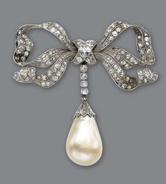 A diamond and pearl brooch-pendant, of bow motif, set throughout with old-European and table-cut diamonds, suspending a natural drop-shaped pearl, estimated total diamond weight: 3 carats; mounted in platinum.