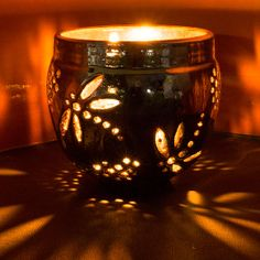 Luminary Candle Holder - 'Gubag-Gabig' Dragon Fly - Pottery Handmade in Metallic Luster Raku Art