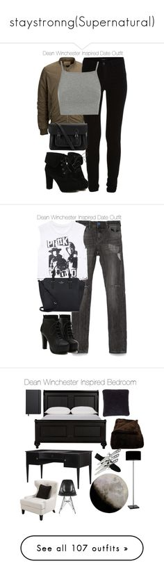 """staystronng(Supernatural)"" by nessiecullen2286 ❤ liked on Polyvore featuring SELECTED, Vila Milano, Topshop, TURNOVER, The Cambridge Satchel Company, date, DeanWinchester, spn, Zara and Forever 21"