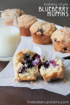 Bakery-style blueberry muffins from The Baker Upstairs. These are the perfect muffins... so moist and full of juicy blueberries!  http://www.thebakerupstairs.com