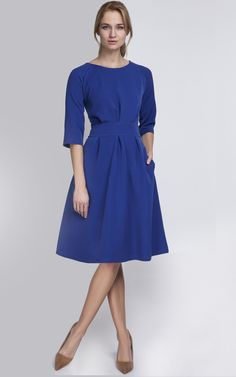 e532f80426 Cobalt Blue A Line Midi Dress - SilkFred
