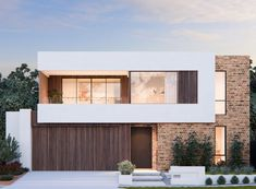 Two Storey Display Homes in Perth - The Regent Small Villa, Flat Roof House, Storey Homes, Display Homes, Building A New Home, Cladding, Midcentury Modern, Building Design, Curb Appeal