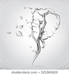Silhouette of the head of an elephant from trees One Line Tattoo, Line Tattoos, Body Art Tattoos, Tattoos For Guys, Tatoos, Elephant Head Tattoo, Elephant Tattoo Design, Elephant Head Drawing, Tree Tattoo Men