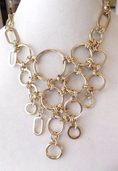 High Polished Gold Tone Rings Bib Statement Necklace #Statement