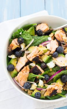 This Salmon Power Salad is full of health-boosting superfoods!   Kristine's Kitchen
