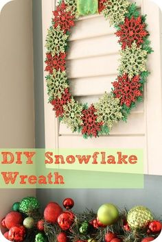 DIY Snowflake Wreath  I have a lot of glitter ornaments that this might be an idea