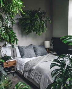 Inspiração pra que curte ambientes Urban Jungle. 💚 Amei o quarto cheio de plantas do @hiltoncarter 💚. . . #diyhomebr #quarto #bedroom #urbanjungle #jungle #plantas