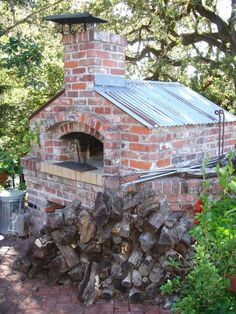 brick pizza oven with tin roof