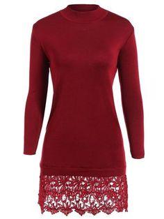 Lacework Splicing Long Sleeve Sweater Dress