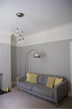 Restored south-facing Victorian terrace sitting room in Pavillion Gray and Strong White // An inspirational image from Farrow and Ball - front room Grey Carpet Living Room, Living Room Grey, Living Room Sofa, Home Living Room, Living Room Designs, Living Room Ideas Grey And Yellow, Living Room Decor Colors Grey, Dado Rail Living Room, Mustard Living Rooms