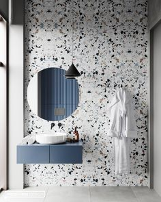 Beautiful Terrazzo tile for this sleek bathroom design. 😍😍 Design from 👌 Dream Bathrooms, Beautiful Bathrooms, Modern Bathroom, Gold Bathroom, Small Bathrooms, Mosaic Bathroom, Master Bathrooms, Washroom Tiles, Bathroom Tray