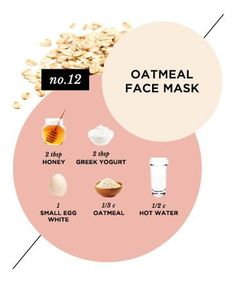 Calming Oatmeal Face Mask Try it: As a face-soothing remedy when your skin is having an angry day   Why it works: Colloidal oatmeal reigns supreme at beating back inflammation; it's often an ingredient in eczema relief products. According to the American Academy of Dermatology, dry, itchy skin has a high pH level, which oatmeal can help stabilize.   Ingredients:  1/2 cup hot water 1/3 cup oatmeal 2 tablespoons plain Greek yogurt 2 tablespoon honey 1 small egg white   Directions: Mix oatmeal…