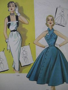 Fashion: 1953 Modes Royale Spring/Summer/ Fashion Illustration - MY World Vintage Dress Patterns, Clothing Patterns, Vintage Dresses, Vintage Outfits, 1950s Fashion, Vintage Fashion, 1950s Summer Fashion, Look Fashion, Womens Fashion