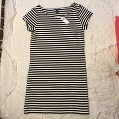 Black and white striped gap shift dress NWT black and white striped shift dress from gap. I bought it for family pics then ended up wearing pants. Brand new darling dress super comfortable. Dress it up with heels or down with sneakers. Clean smoke free home GAP Dresses Mini