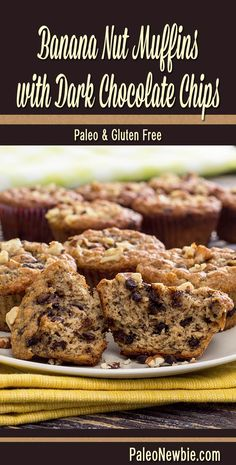 Easy and awesome muffins with a light texture, sweet banana flavor, and bits of gooey dark chocolate baked inside. #paleo #glutenfree