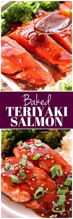 Baked Teriyaki Salmon Recipe - quick and easy dinner idea with lots of flavor! Delicious salmon baked with homemade teriyaki sauce, roasted broccoli and jasmine rice.
