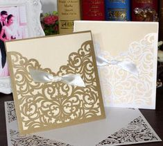 1pcs Square Laser Cut Lace Flower Invitations Cards Engagement Wedding Birthday Graduation Anniversary Envelopes Inner Card