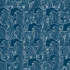 Abstract sea background, wave theme fashion seamless pattern, monochrome vector wallpaper, creative vintage fabric, fantasy blue wrapping with wave ornaments - summer, maritime theme for design