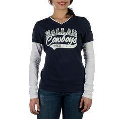 NFL Dallas Cowboys Women's Hosta Long Sleeve Layered Tee at shop.dallascowboys.com