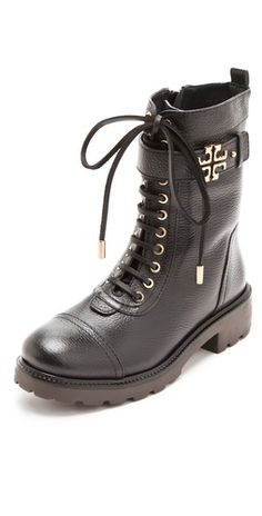 http://rstyle.me/imix97m4bn    Winkled leather Tory Burch boots soften their tough combat styling with polished metal accents. A logo medallion shines at the buttoned strap, and delicate aglets clatter against metal grommets. Side zip and lug sole.    #toryburch #combat #boots