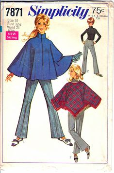 Simplicity 7871 Woman's Collared Zip Front Poncho Square