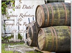 3 Stacked Wine Barrels and a classic background maek for the perfect Vineyard Save the Date.  http://www.magnetqueen.com/wine_barrels_order.htm