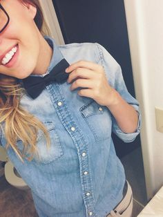 Dressy Casual - Denim Button Up, Navy Bowtie, Khakis, Glasses Queer Fashion, Androgynous Fashion, Tomboy Fashion, Trendy Fashion, Fashion Outfits, Mens Fashion, Trendy Style, Lesbian Outfits, Tomboy Outfits
