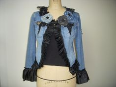 Altered+Recycled+Denim+Jacket+Antique+Black+door+SewVintageSewRetro,+$95,50