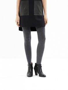 mixed fabrics, tights & booties - cute cold weather look (just need some sleeves)