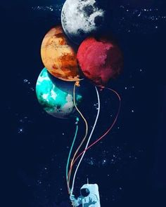 provocative-planet-pics-please.tumblr.com #space #red #blue #moon #planets #balloons #astronaut by smilessilent https://www.instagram.com/p/BFIibp2JcN0/