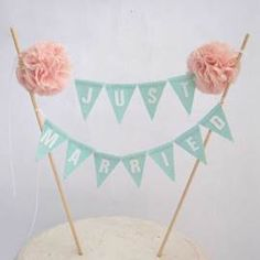 Just Married bunting - mint and pale pink theme