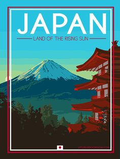 Japon affiche de voyage Vintage