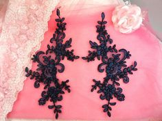 Appliques Navy Blue Venice Lace Embroidered Floral Mirror Pair