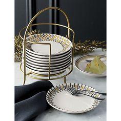 Metallic Plates with Stand, Set of 12 | Crate and Barrel