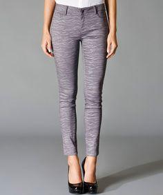 Gray Zebra Cropped Pants #zulily #zulilyfinds