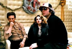 Ellen Barkin, Mickey Rourke and Barry Levinson on the set