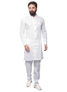 Buy White Linen Kurta Pyjama online from the wide collection of kurta-pyjama. This White colored kurta-pyjama in Linen fabric goes well with any occasion. Shop online Designer kurta-pyjama from cbazaar at the lowest price. Latest Kurta Designs, Mens Kurta Designs, African Men Fashion, Muslim Fashion, Mens Fashion, White Kurta Men, Kurta Pajama Men, Gents Kurta, Moda Masculina